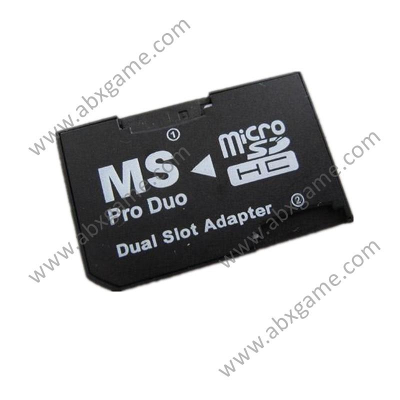 Dual-Slot SDHC Micro SD TF Card to MS Pro Duo Memory